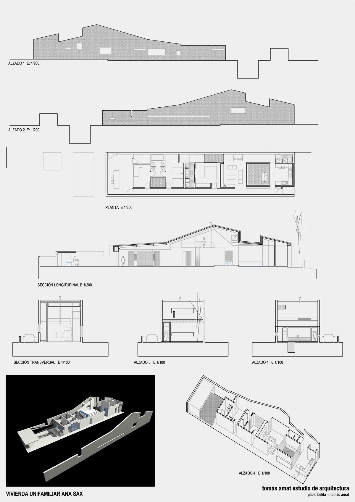 Planos técnicos e imágenes del proyecto arquitectónico Vivienda Ana