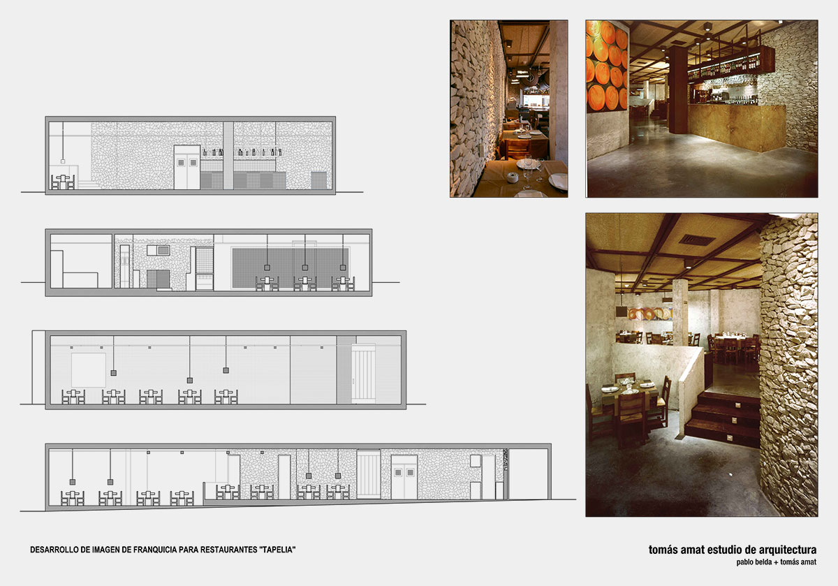 Proyecto de interiorismo de Arrocerías Tapelia. Planos técnicos y fotos del proyecto