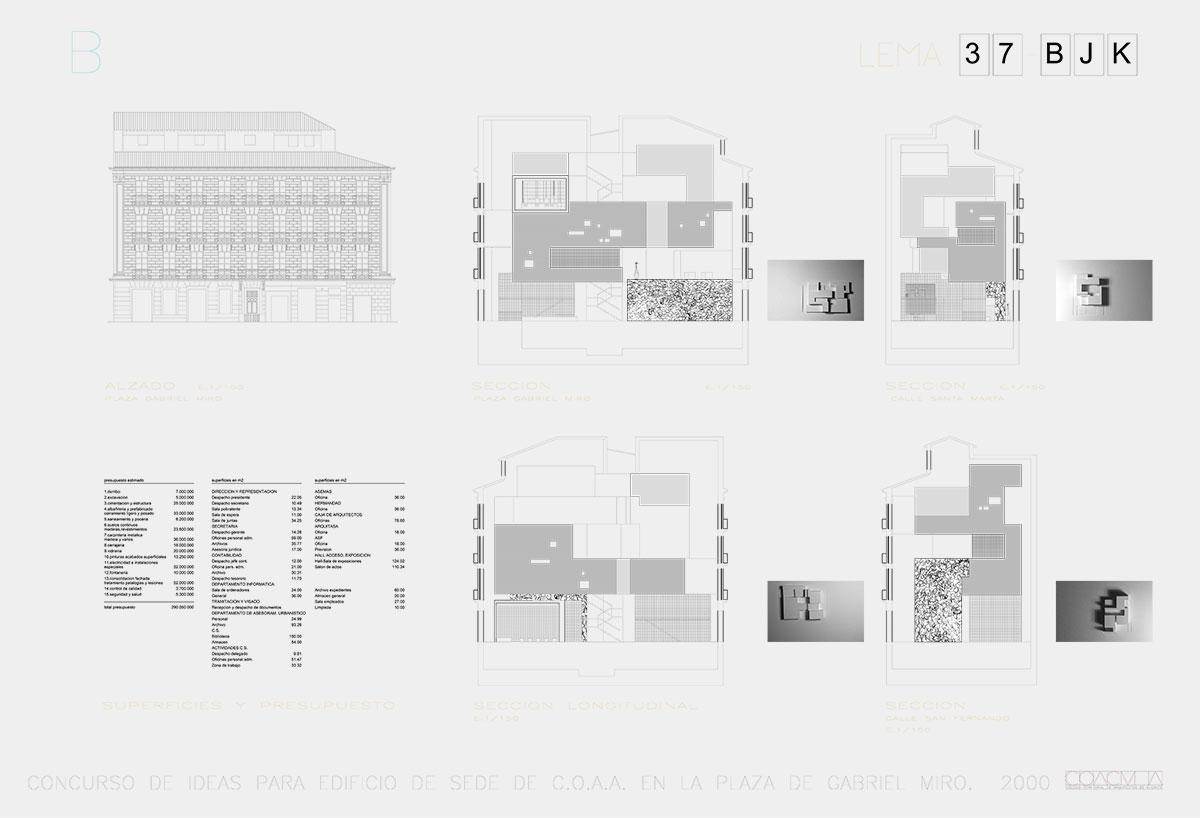 Proyecto de arquitectura para el concurso del Colegio de Arquitectos de Alicante. Planos técnicos y fotos del proyecto