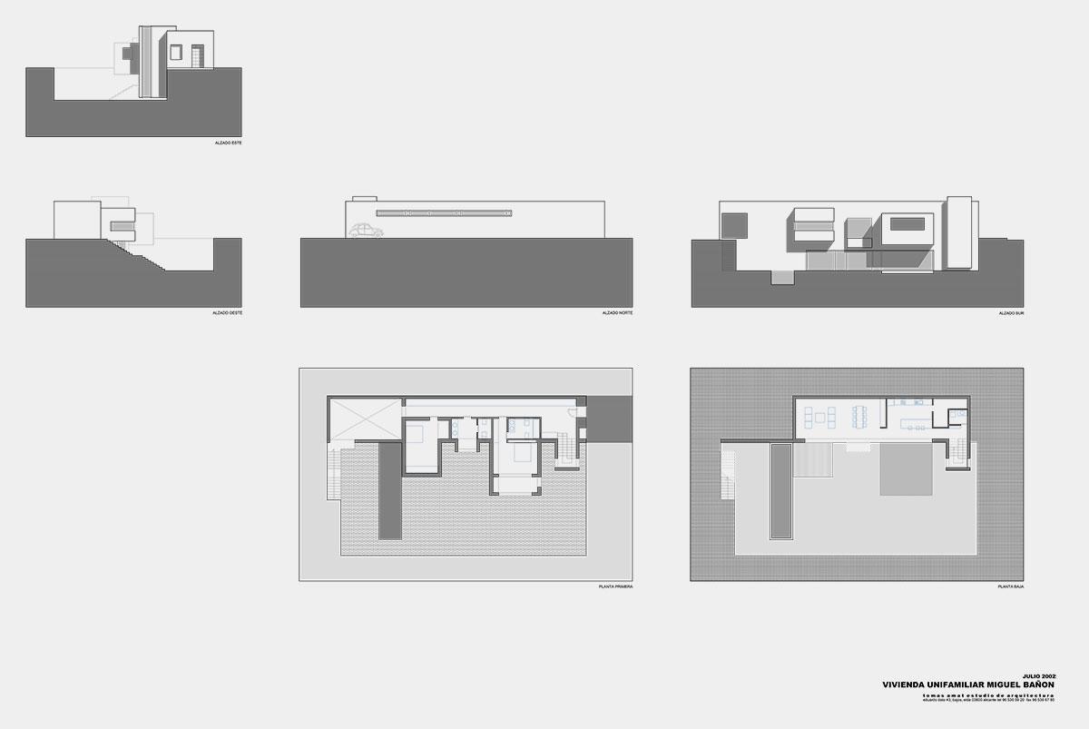 Proyecto de arquitectura Casa Bañón. Planos técnicos