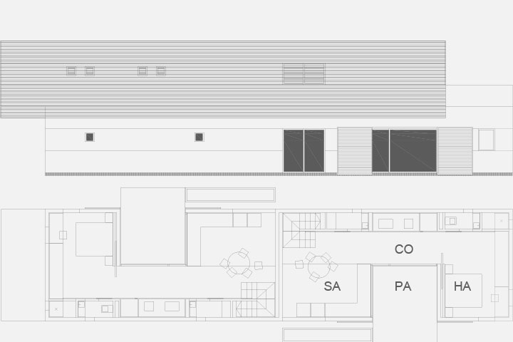 Alzado longitudinal vivienda Loma Badá