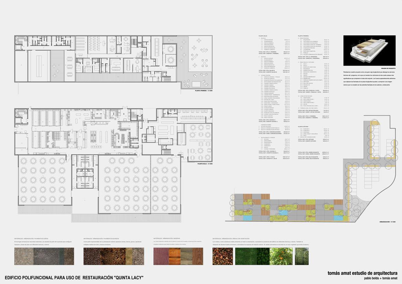 Panel proyecto de arquitectura para salón de celebraciones Quinta Lazy