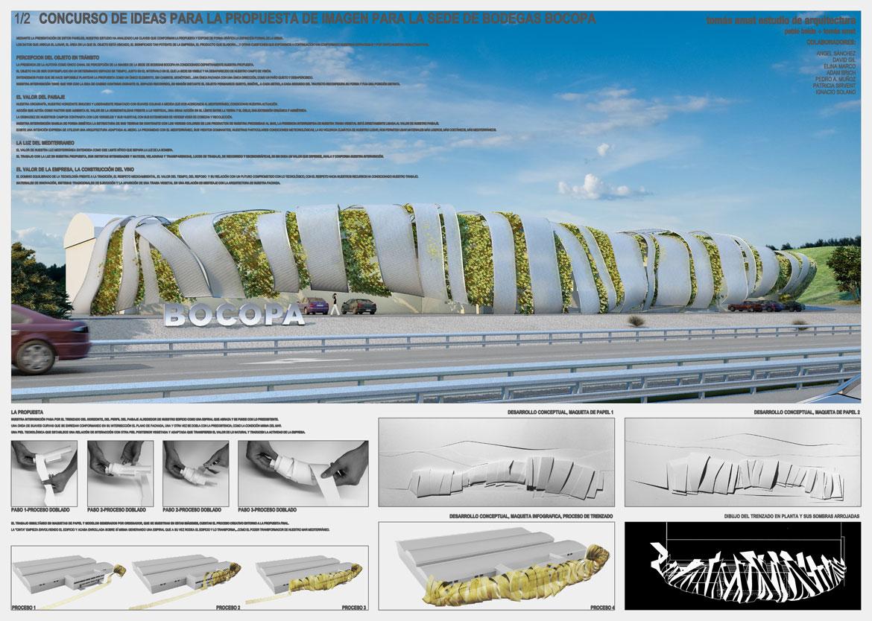 Concurso de rehabilitación de fachada bodegas Bocopa. Panel 1 con detalles del proyecto arquitectónico