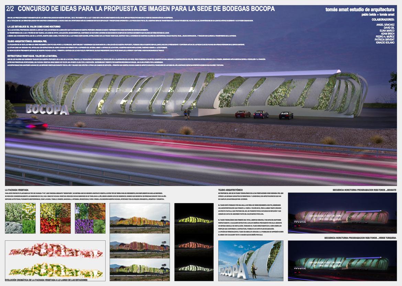 Concurso de rehabilitación de fachada bodegas Bocopa. Panel 2 con detalles del proyecto arquitectónico