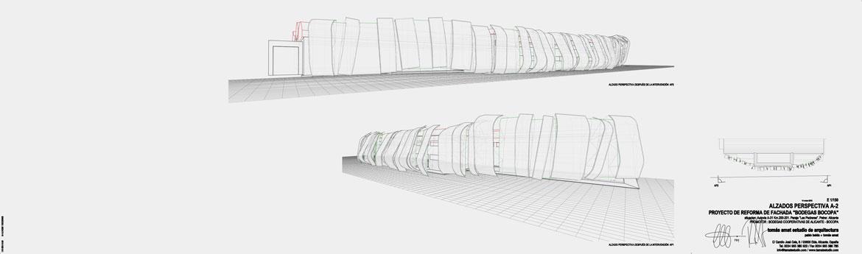 Concurso de rehabilitación de fachada bodegas Bocopa. Panel 3 con detalles del proyecto arquitectónico