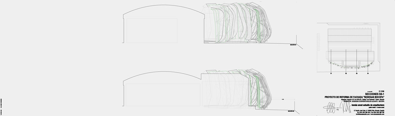 Concurso de rehabilitación de fachada bodegas Bocopa. Panel 4 con detalles del proyecto arquitectónico