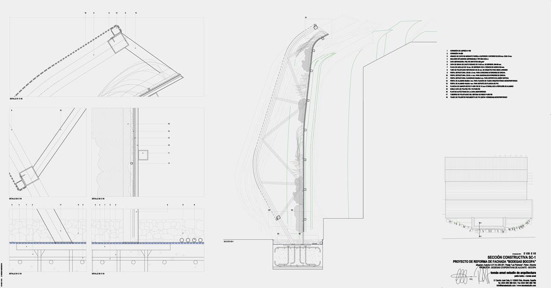 Concurso de rehabilitación de fachada bodegas Bocopa. Panel 5 con detalles del proyecto arquitectónico