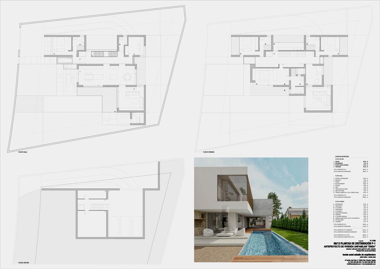 Proyecto de arquitectura. Vivienda unifamiliar. Panel explicativo 1