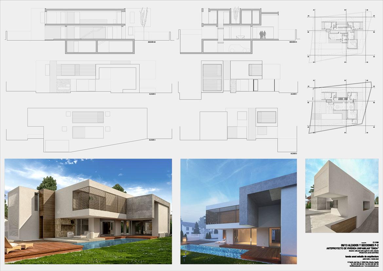 Proyecto de arquitectura. Vivienda unifamiliar. Panel explicativo 2