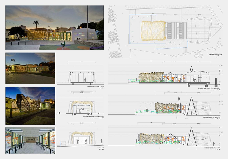 Panel descriptivo del proyecto arquitectónico en la Cigarreras (Alicante)